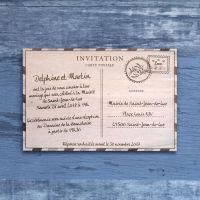 Carte postale - Faire-part de mariage sur bois