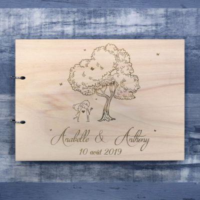 livre d'or de mariage en bois sur le thème chic et champêtre