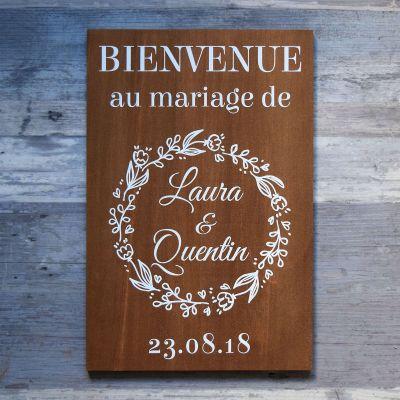 Pancarte de bienvenue - Couronne de fleurs bois foncé