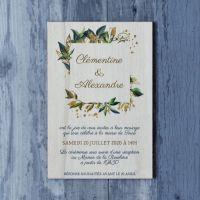 Faire-part de mariage sur bois sur le thème du printemps et du chic