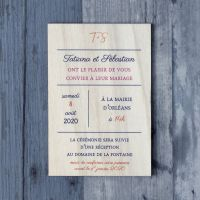 Moderne - Impression - Faire-part de mariage sur bois