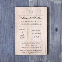 Moderne - Gravure - Faire-part de mariage sur bois