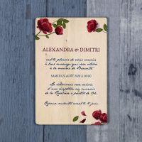 Roses - Faire-part de mariage sur bois