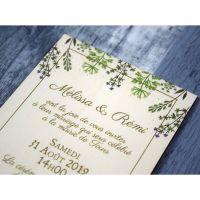 Faire-part de mariage sur bois - Fleurs sauvages