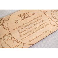 Faire-part de mariage sur le thème du printemps avec gravure florale