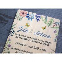 Faire-part-mariage-bois-impression-fleur-floral-imprime-papillon
