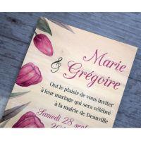 Faire-part-mariage-tulipe-bois-impression-fleurs