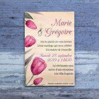Faire-part de mariage sur bois - Tulipes