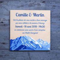 Faire-part de mariage sur bois - Sommets alpins