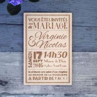Faire-part de mariage sur bois - Typographie