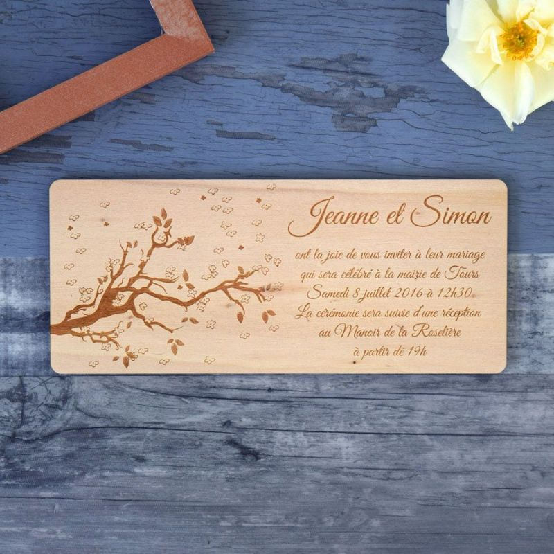 Faire-part de mariage sur bois - Printemps