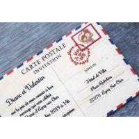 Faire-part-mariage-bois-vintage-carte-postale