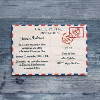 Carte postale Impression - Faire-part de mariage sur bois