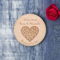 Coeur - Save the date sur bois