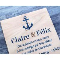 Faire-part de mariage en bois sur le thème nautique de la mer et du voilier