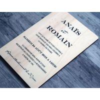 Faire-part de mariage en calligraphie et écriture sur bois