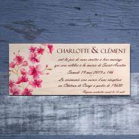 Faire-part de mariage sur bois - Cerisier