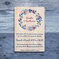 Faire-part de mariage sur bois - Couronne florale