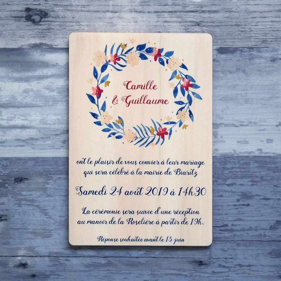 Faire-part-mariage-bois-impression-floral-fleur-couronne