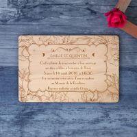 Faire-part de mariage sur bois - Elégance 1