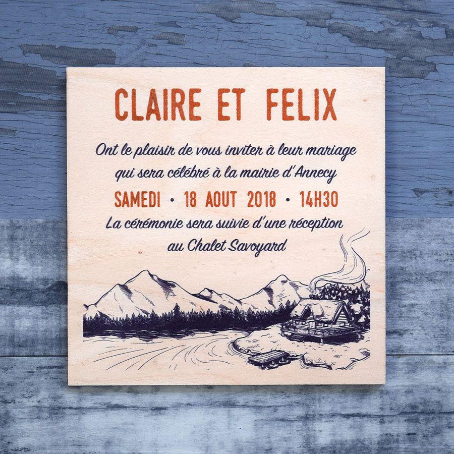 Moderne Faire part de mariage imprimé sur bois - Chalet WD-74