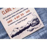 Faire-part de mariage sur bois - Chalet à la montagne