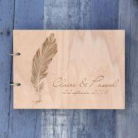Livre d'or de mariage sur bois - Plume