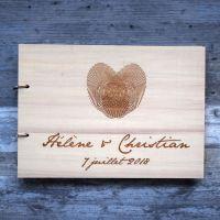 Livre d'or de mariage sur bois - Empreintes