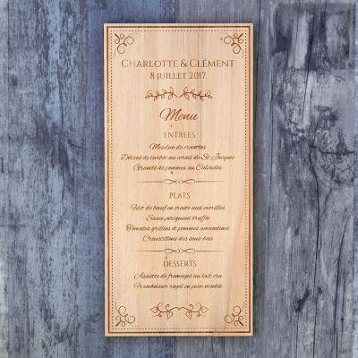 Menu-mariage-grave-laser-bois-floral-nature-champetre