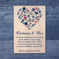 Faire-part de mariage sur bois - Coeur champêtre