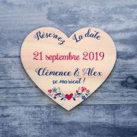 Coeur champêtre - Save the date sur bois