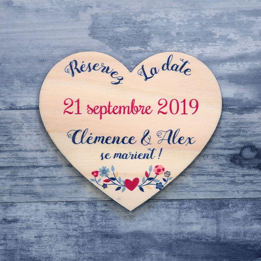 Save the date sur bois - Coeur champêtre