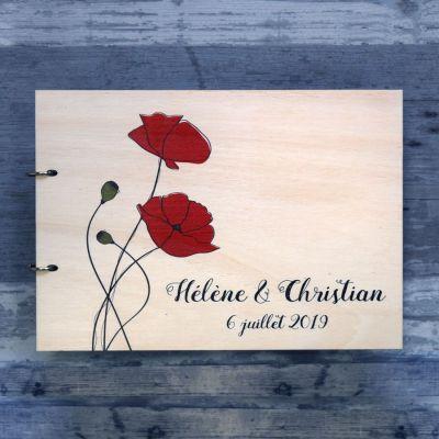 livre d'or de mariage en bois sur le thème floral des coquelicots