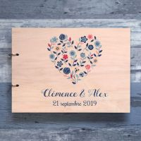 Livre d'or de mariage sur bois - Coeur champêtre