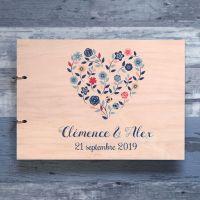 livre d'or de mariage en bois sur le thème couronne florale