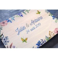 livre d'or de mariage en bois sur le thème fleurs et printemps