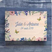 Livre d'or de mariage sur bois - Fleurs de printemps