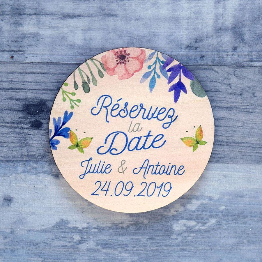 Save the date sur bois - Fleurs de printemps