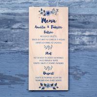 Fleurs bleues - Menu de mariage sur bois