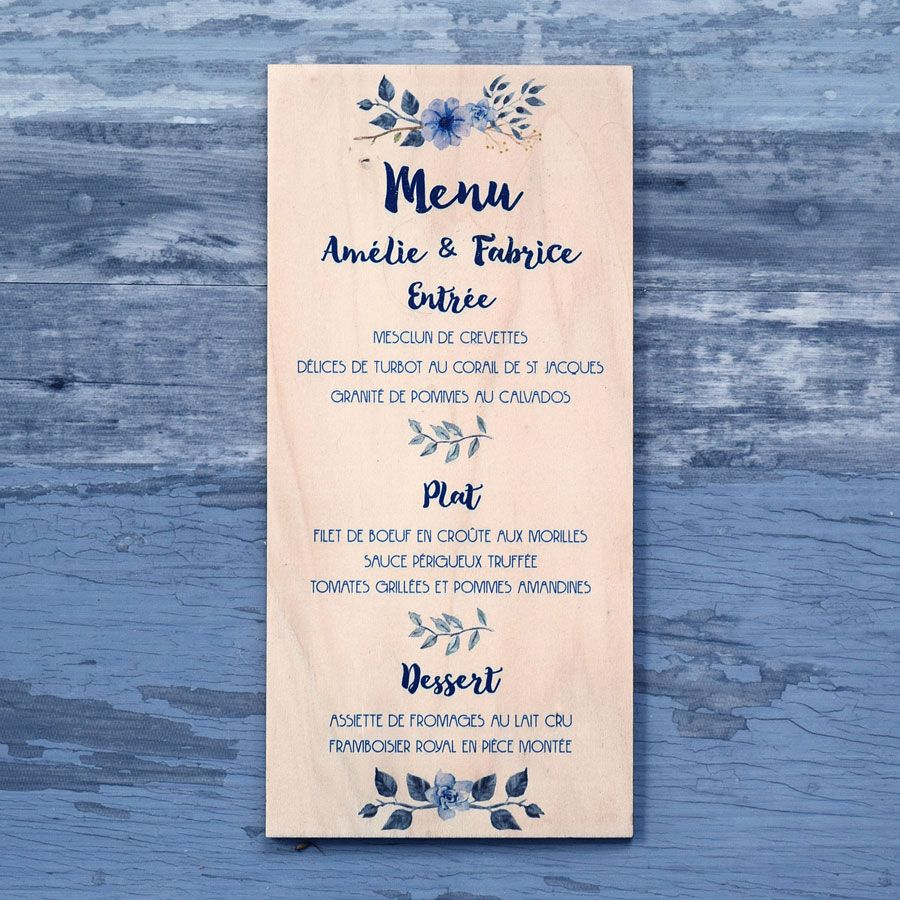 Menu de mariage sur bois - Fleurs bleues