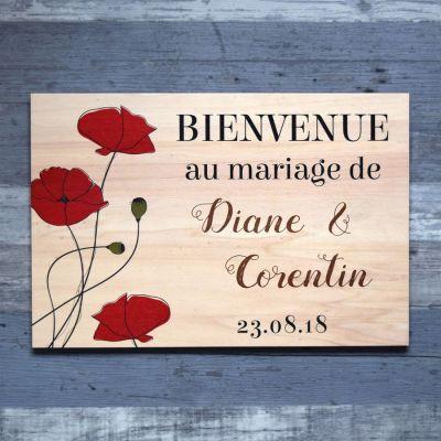 Pancarte de bienvenue de mariage en bois - Coquelicots